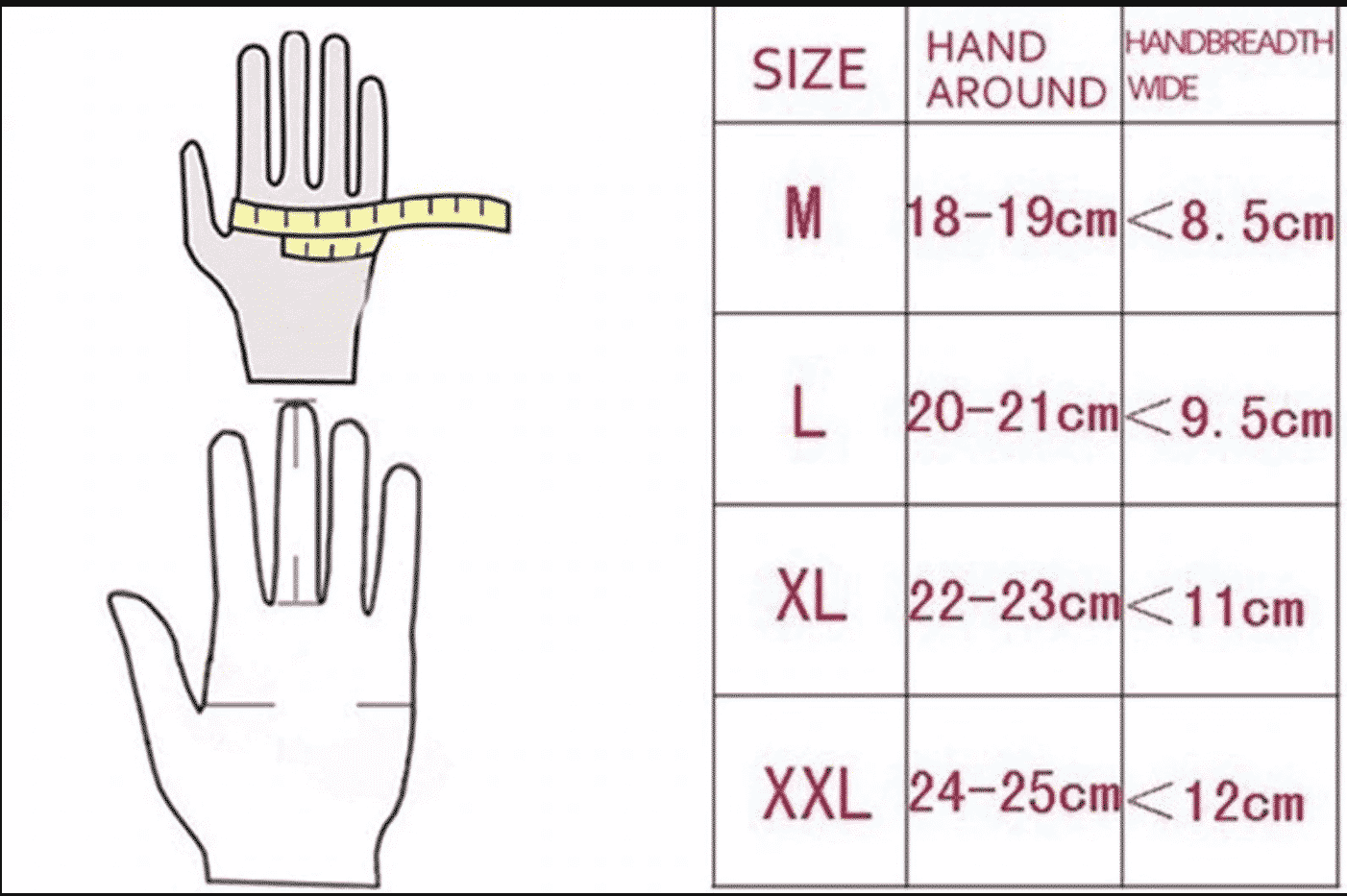 gloves size